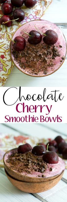 These sweet and creamy Chocolate Cherry Smoothie Bowls contain just four healthy ingredients! Best Breakfast Recipes, Brunch Recipes, Sweet Recipes, Dessert Recipes, Brunch Dishes, Breakfast Time, Cherry Smoothie, Smoothie Bowl, Healthy Smoothies