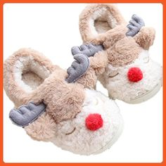 MiYang Women's Soft Warm Reindeer Plush Indoor Cartoon Slippers brown - Slippers for women (*Amazon Partner-Link)