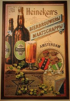 Making beer: Inside the Heineken brewery Old Advertisements, Retro Advertising, Retro Ads, Vintage Labels, Vintage Signs, Vintage Ads, Beer Poster, Poster Ads, Beer Pictures