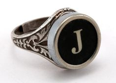 Initial Letter J Antique Typewriter Oak Leaf Ring..in honor of my mom!