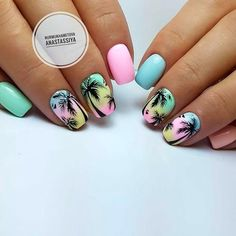 Beautiful nails 2018 Bright fashion nails Marine nails Palm tree nail art Pink and blue nails Summer nails 2018 Two color nails Vacation nails for summer Nail Art Design Gallery, Best Nail Art Designs, Art Gallery, Cute Summer Nails, Cute Nails, Pink Summer, Summer Time, Summer Colors, Summer Holiday Nails