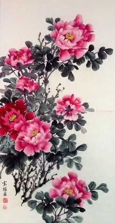 Peony Painting - Peony Flower - Chinese Painting by Lin Hai Chinese Painting Flowers, Chinese Flowers, Peony Painting, Japanese Flowers, Japanese Painting, Japanese Art, Watercolor Flowers, Painting Canvas, Painting Doors