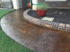 Stained Concrete Overlay on Walkway by Texoma Concrete Effects, Iowa Park, TX.