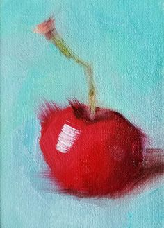 ACEO Original Oil Painting Cherry Easel Art by CynthiaHaaseFineArt