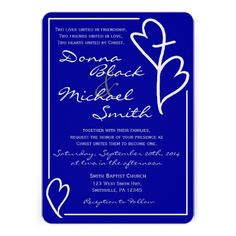 Two Hearts Cross Religious Wedding Invitations-featuring a customizable background color and ribbon on reverse side.