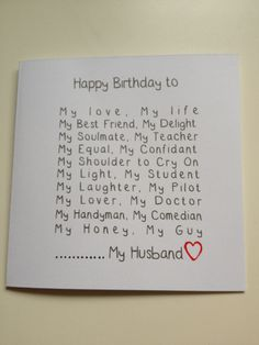 Handmade Husband Birthday card - funny
