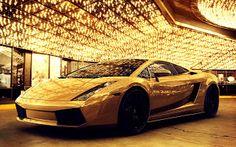 Golden Lamborghini Gallardo Luxury Car HD Wallpaper