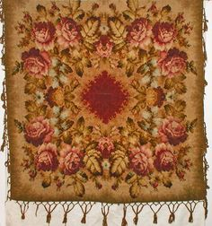 Victorian Roses Floral Throw In Cotton Chenille Over 100 Years Old