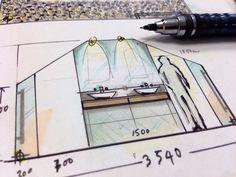 Bathroom Design Visualiser bathroom design sketch for client | david smith illustrator and
