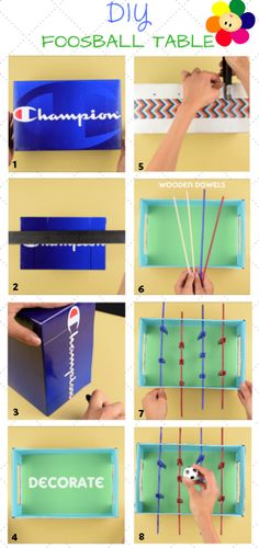 DIY Foosball Table by BabyFirst - This fun project can be made easily with household items. For full instructions check out our blog at: http://www.babyfirstblog.com/2564-2/ #DIY #BabyFirst #FoosballTable #ArtsAndCrafts