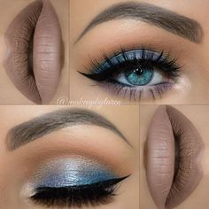 Gorgeous Makeup: Tips and Tricks With Eye Makeup and Eyeshadow – Makeup Design Ideas Blue Eyeshadow For Brown Eyes, Blue Eye Makeup, Eye Makeup Tips, Makeup Goals, Skin Makeup, Eyeshadow Makeup, Beauty Makeup, Eyeshadow Palette, Brown Lip