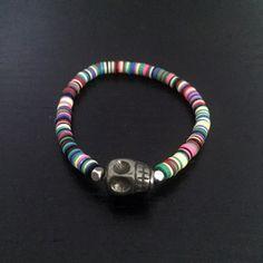 Mini Skull African Vinyl Popsicle Stretch Bracelet by MyCreakyStairs on Etsy