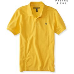 Aeropostale Prince & Fox Solid Piqué Polo ($15) ❤ liked on Polyvore featuring men's fashion, men's clothing, men's shirts, men's polos, sunspot yellow, mens polo shirts, mens button shirts, mens polo button down shirts, mens yellow button down shirt and mens yellow polo shirt