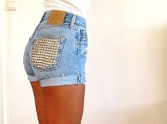 DIY mom's old high-waisted jeans- make into cut off shorts and use a studding machine to stud the pockets and loops - add a fun belt or gems to the pockets for a unique look!