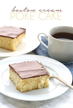 This low carb Boston Cream Poke Cake is oozing with sugar-free vanilla pastry cream and topped with a rich chocolate ganache.