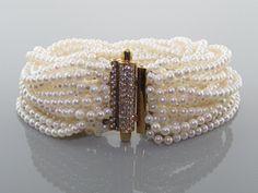 Multistrand Pearl Torsade Bracelet with Pave Diamond Clasp in 18K