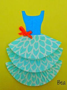 kreatywne prace plastyczne: Laurka z sukienką, a card with dress