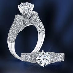 Cathedral diamond pave shoulders bound together by a wreath of delicate leaves...  #diamonds