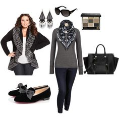 """Monochromatic Winter- Plus Size Outfit"""