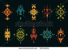 Tribal elements, ethnic collection, aztec style, tribal art, colorful tribal design isolated on white background