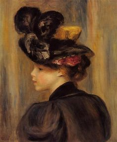 1895 ~ Young Woman Wearing With a Black Hat ~ Pierre Auguste Renoir