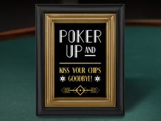 Art Deco Poker Table Sign // Great Gatsby Printable Decorations // Black and Gold Party Speakeasy Party, 1920s Party, Gatsby Party, 1920s Theme, Prohibition Party, Casino Theme Parties, Casino Party, Party Themes, Ideas Party