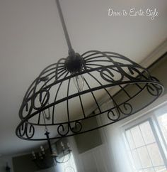 Garden Basket Pendant Light Tutorial - existing shade was replaced with a painted basket form.  How great is this?!