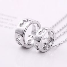New Cutout Design Ring Pendants Alloy Plated Gold Lover's Necklaces
