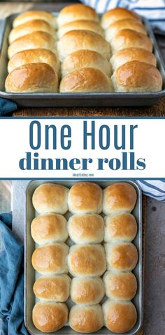 Light and fluffy dinner rolls that can be made from scratch in just one hour! Homemade Yeast Rolls, Homemade Dinner Rolls, Dinner Rolls Recipe, Biscuit Recipe, Dough Recipe, Quick Rolls, Fluffy Dinner Rolls, Yeast Bread Recipes, Pinterest Recipes