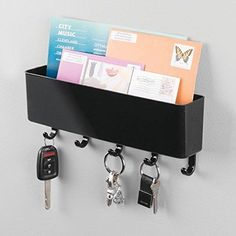 Wall Mount Letter Rack Holder Mail Organizer Storage Key Rack for Entryway Black #MetroDecor #Modern