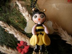 Bee doll necklace handmade pendant in fimo clay by AlberodelleMele, €10.00