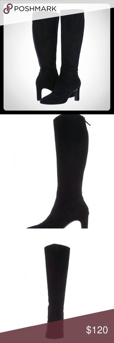 New Cole Haan Arlean Boots, Black Suede Supple suede upper material.  Back-zip closure.  Soft, pointed toe.  Soft fabric lining.  Padded, non-removable insole.  Wrapped heel.  Synthetic outsole.  Imported.  Product measurements were taken using size 9, width B - Medium. Please note that measurements may vary by size.  Weight of footwear is based on a single item, not a pair.  Measurements:Heel Height: 3 inWeight: 1 lb 4 ozCircumference: 16 inShaft: 16 1⁄2 inPlatform Height: 1⁄4 in Cole Haan…