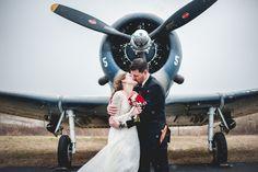 Adorable airplane hangar winter wedding. www.alexwrightphotography.com