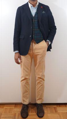 12.07.13 Plaid Vest, Blue Vests, Sport Coats, What I Wore, Mens Suits, Men's Style, Blazers, Khaki Pants, Menswear