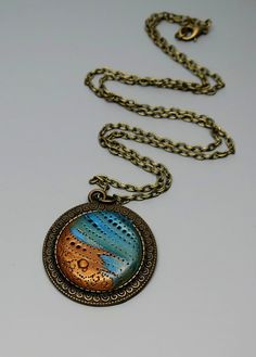 Polymer Clay Pendant Necklace Turquoise and Gold by MandarinMoon