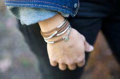 Cuero Wrap Pulsera plata tubo Wrap gamuza por roundhousejewelry