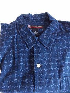 Ralph Lauren Polo Jeans Co Mens Large camp shirt short sleeve blue button #PoloRalphLauren #ButtonFront