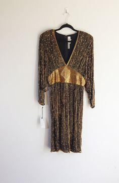 NWT Art Deco, Gatsby, Gold and Pearl Beaded Dress