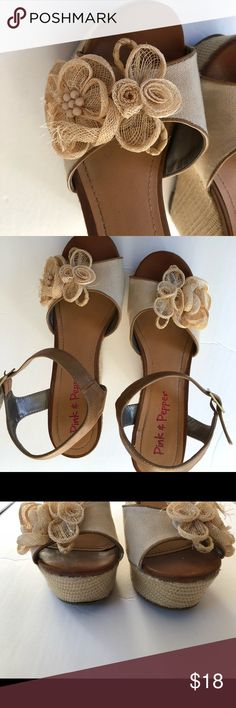 Pink & Pepper Wegdes Pink & Pepper Brand  Size 9 Cute cream/tan color  Burlap flower on each foot for perfect spring\summer accent  Great Used Condition Pink & Pepper Shoes Wedges