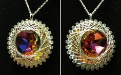 1 3/8 Wire Wrapped Spiro Pendant in Crystal Electra by ElleRae, $60.00