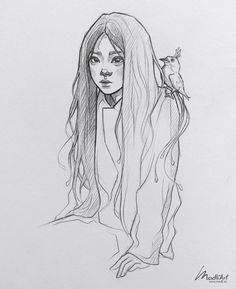 Little character design pencil doodle in my sketchbook I Daily Line Art Sketching practice I Cute pretty Asian Japanese girl with paradise bird I Sket Portrait Sketches, Anime Drawings Sketches, Cool Art Drawings, Cartoon Kunst, Cartoon Art, Art And Illustration, Pretty Art, Cute Art, Arte Dark Souls