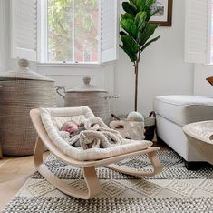 Baby Wooden Rocker A must have from birth to 7 months, rocker fits perfectly with your interior. Its wood conception and design contrast… Diy Furniture Cheap, Diy Furniture Renovation, Baby Furniture, Furniture Legs, Garden Furniture, Furniture Design, Children Furniture, Baby Bedroom, Baby Boy Rooms