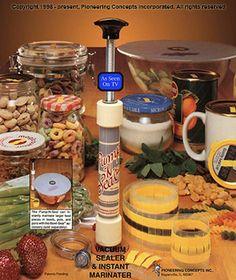 The food saver Pump-n-Seal manual food storage system for jars, bags, bottles, and bowls.