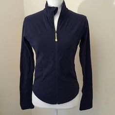 Lululemon Forme jacket Navy blue Luon Forme jacket, sz tag confirmed.  Great condition, no flaws to note except from static due to age of Luon material. Some light pilling underarms, not visible when worn.   NO TRADES AND NO LOW BALL OFFERS ACKNOWLEDGED, THX FOR OFFERING WITH CONSIDERATION. lululemon athletica Jackets & Coats