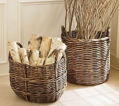 Fireplace wood storage basket pottery barn 16 new Ideas Firewood Basket, Firewood Storage, Storage Baskets, Firewood Holder, My Home Design, Home Interior Design, Pottery Barn Baskets, Birch Logs, Birch Trees