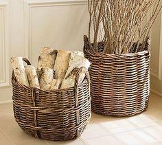 Birch logs in baskets