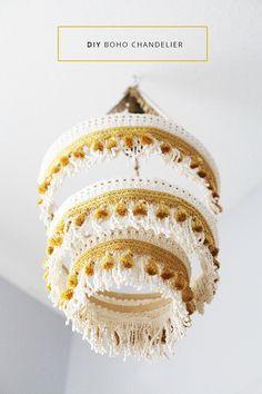DIY Boho fringe chandelier via In Honor of Design
