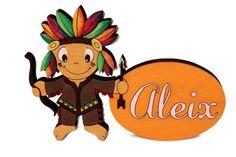 Plaquita Indio personalizada sobre madera y pintada a mano