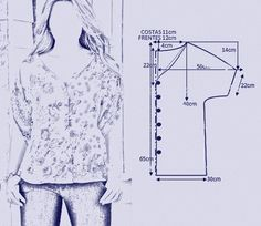 Afbeeldingsresultaat voor molde bata com manga Dress Sewing Patterns, Blouse Patterns, Clothing Patterns, Blouse Designs, Sewing Blouses, Kurti Designs Party Wear, Creation Couture, Casual Tops For Women, Cut Shirts