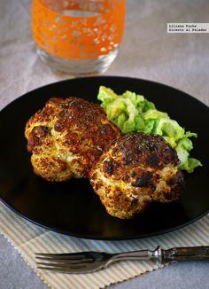 Directo al Paladar - Coliflor asada entera al curry. Receta ligera Yummy Vegetable Recipes, Vegetarian Recipes, Healthy Recipes, Healthy Meals, Healthy Cooking, Healthy Life, Healthy Eating, Curry, Tandoori Chicken